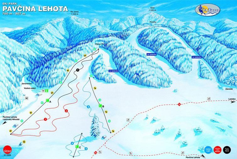 Mapa tratí v stredisku Žiarce - Pavčina Lehota