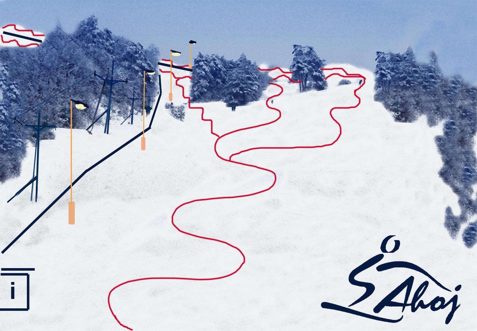 Mapa svahov v stredisku Ski Banka - Ahoj