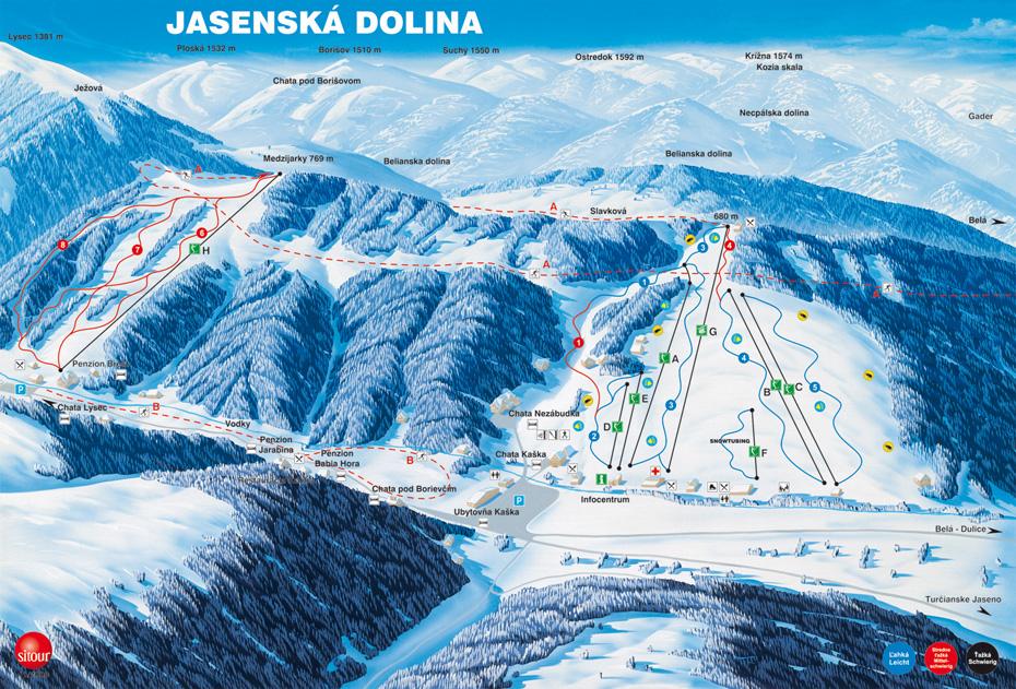 Mapa svahov v stredisku Jasenská dolina