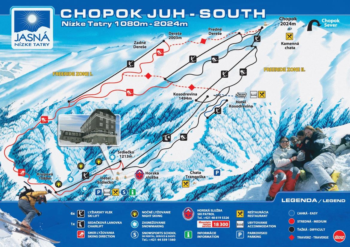 Mapa svahov v stredisku Jasná Nizke Tatry - Chopok juh