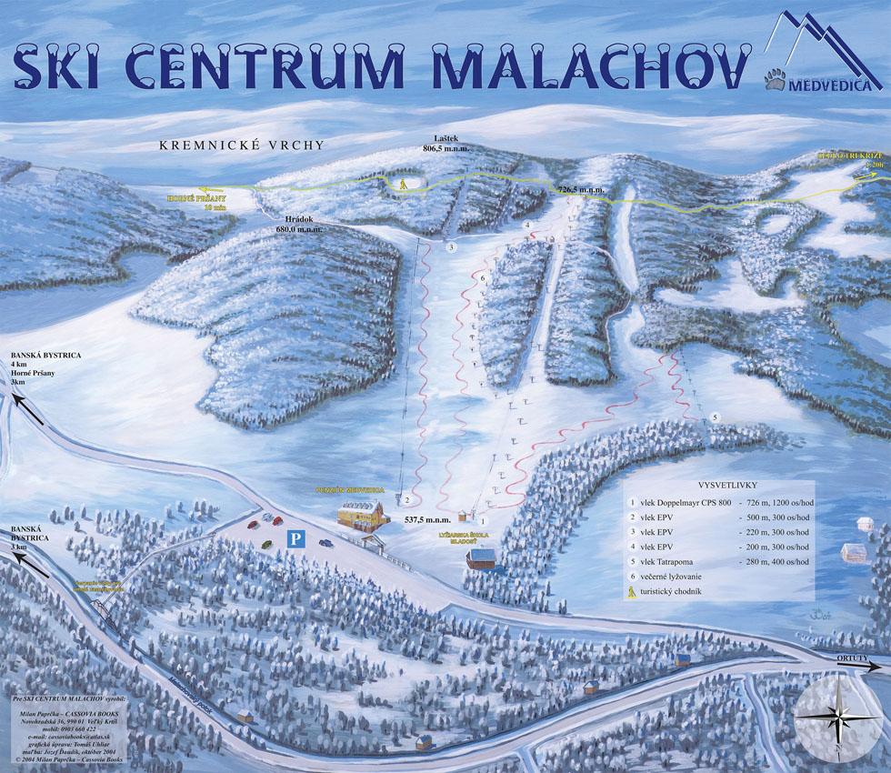 Mapa svahov v stredisku Malachov - Medvedica