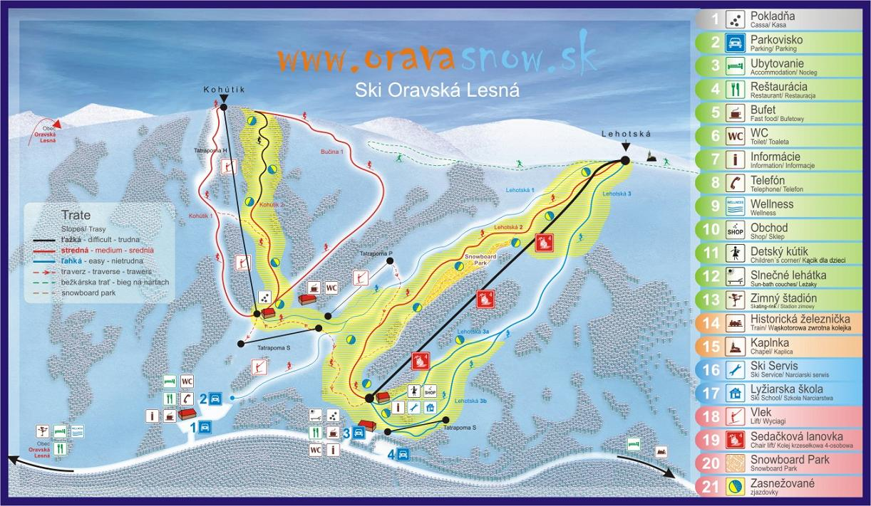 Mapa svahov v stredisku Orava Snow - Ski Oravská Lesná
