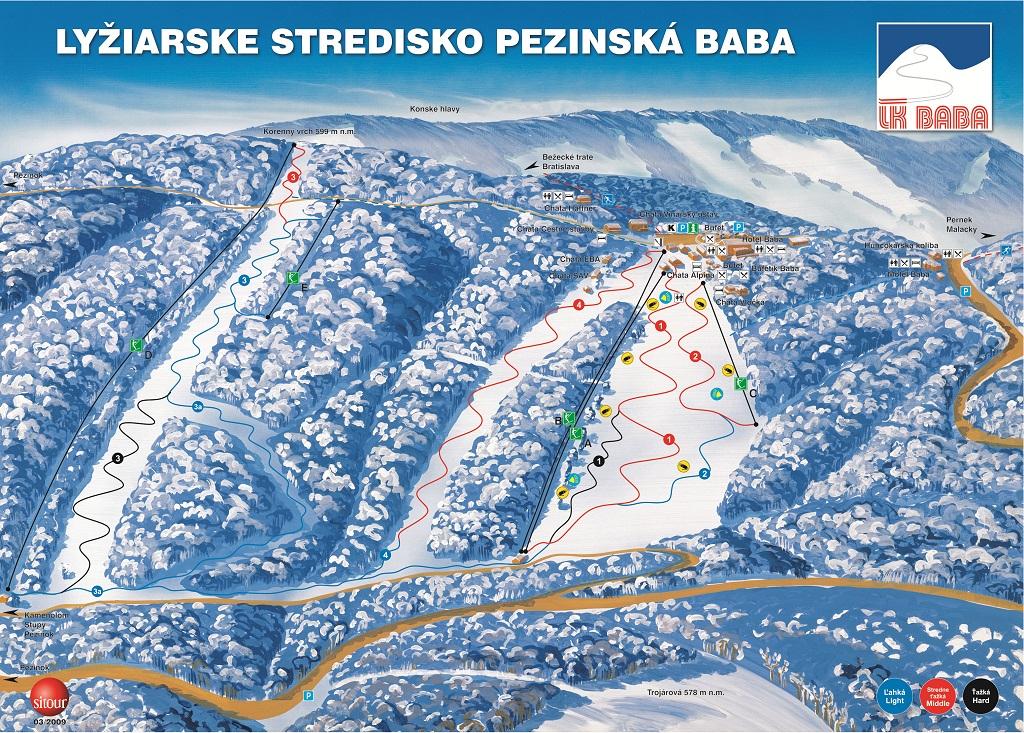 Mapa svahov v stredisku Pezinská Baba