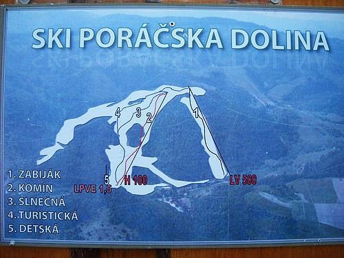 Mapa svahov v stredisku Poráč Park - Poráčska Dolina