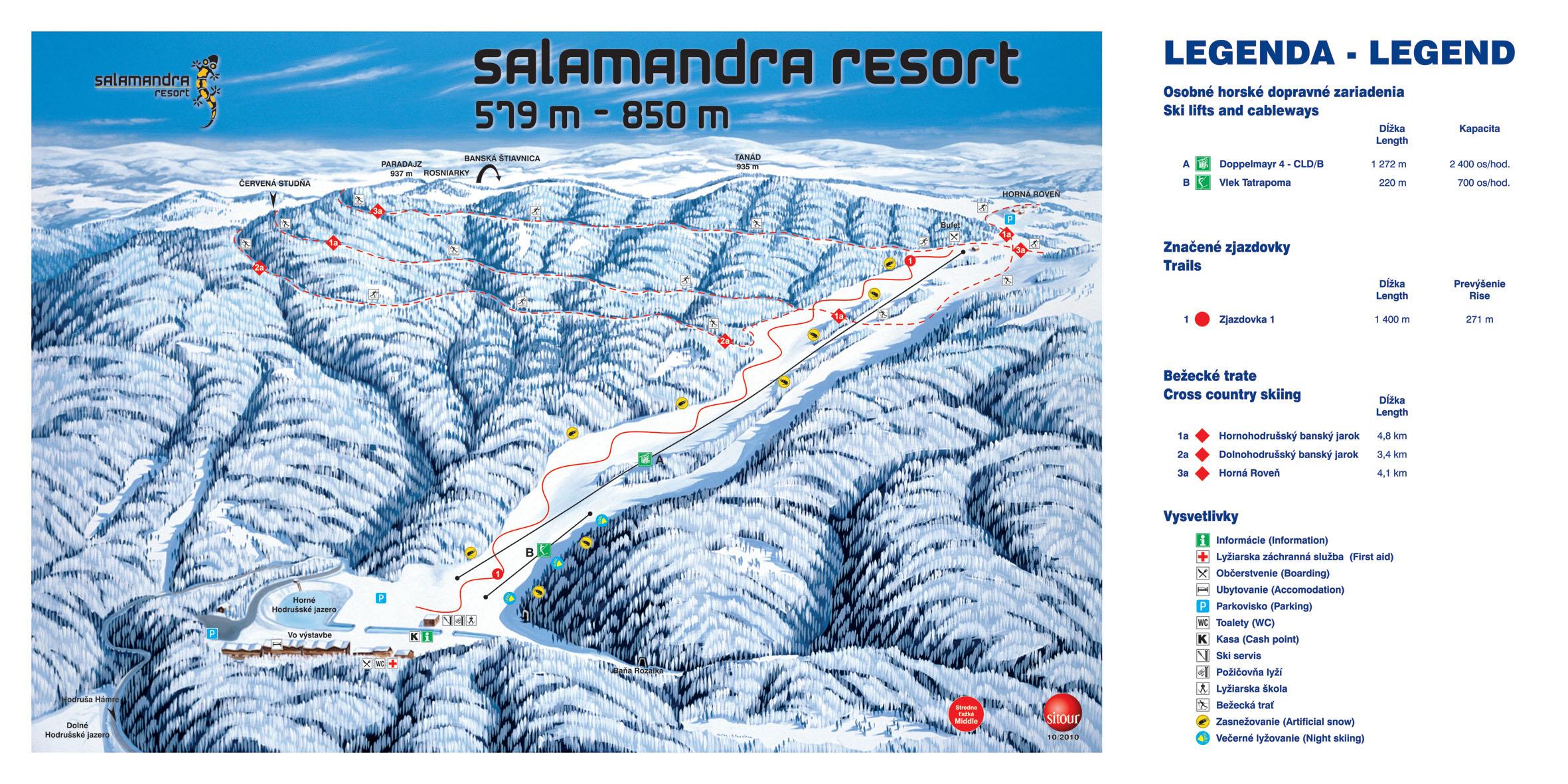 Mapa svahov v stredisku Salamandra resort
