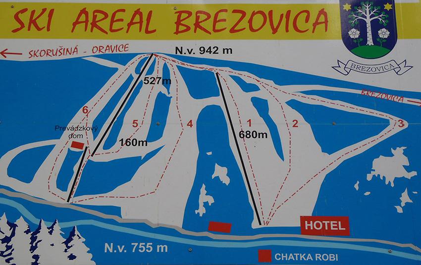 Mapa svahov v stredisku Ski Areál Brezovica