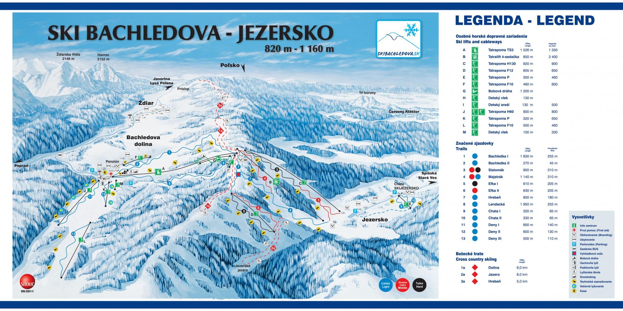 Mapa svahov v stredisku ski Bachledova