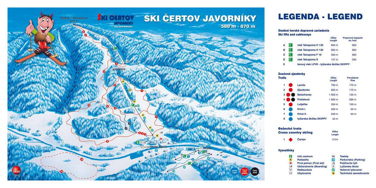 Mapa svahov v stredisku Ski Čertov