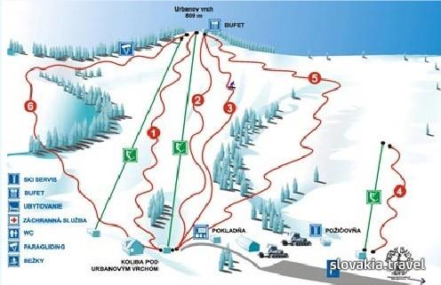 Mapa svahov v stredisku Ski Čierny Balog