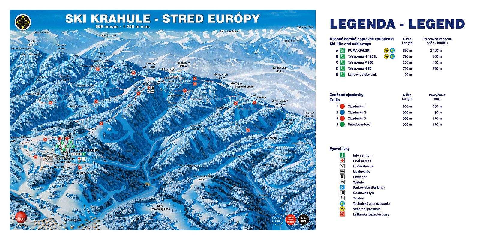 Mapa svahov v stredisku Ski Krahule - Juh