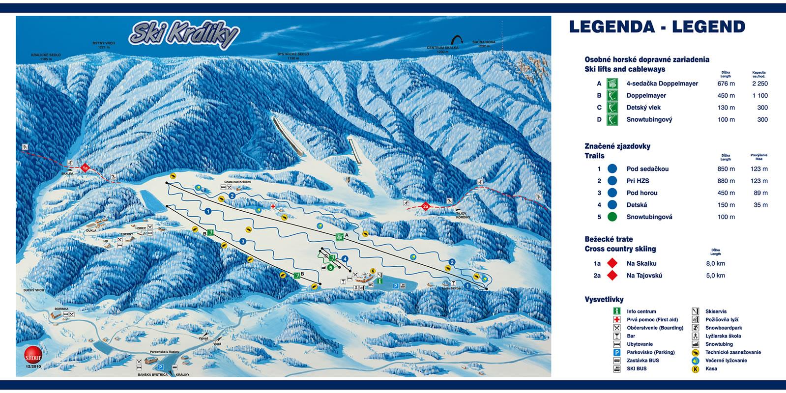 Mapa svahov v stredisku Ski Králiky