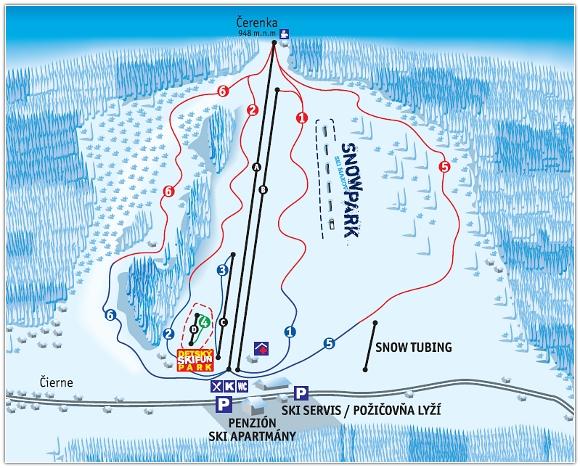 Mapa svahov v stredisku Ski Makov