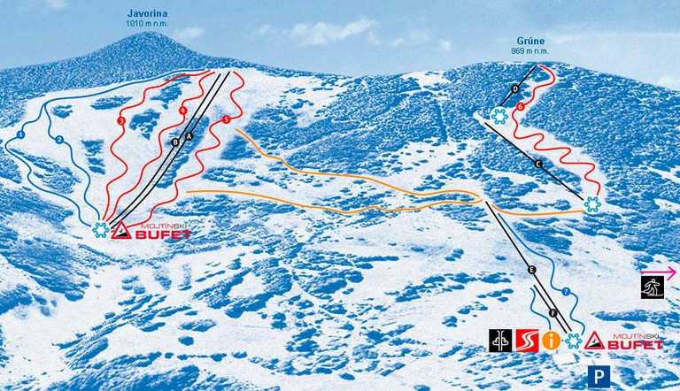 Mapa svahov v stredisku Ski Mojtín