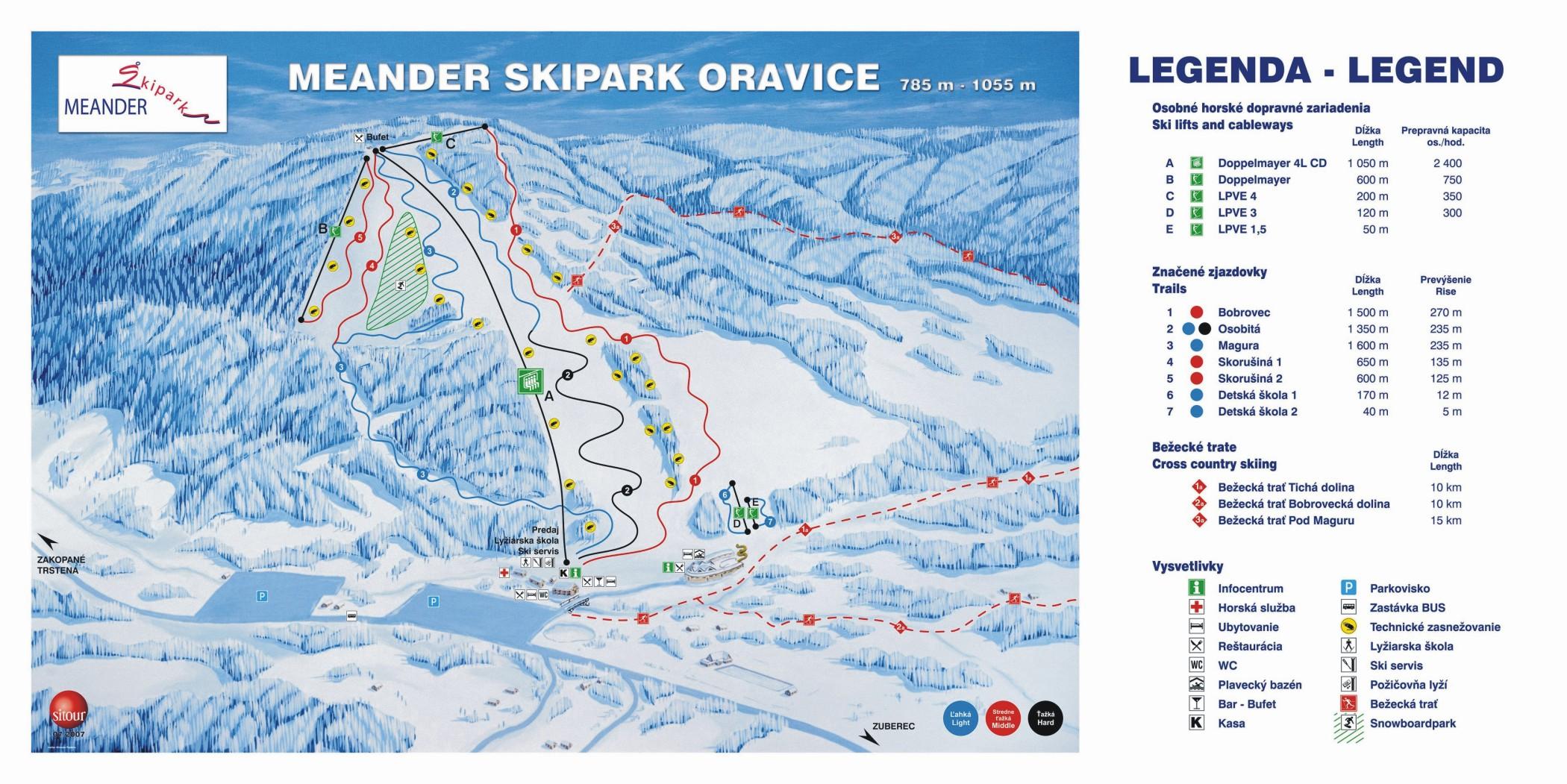 Mapa svahov v stredisku Ski Oravice