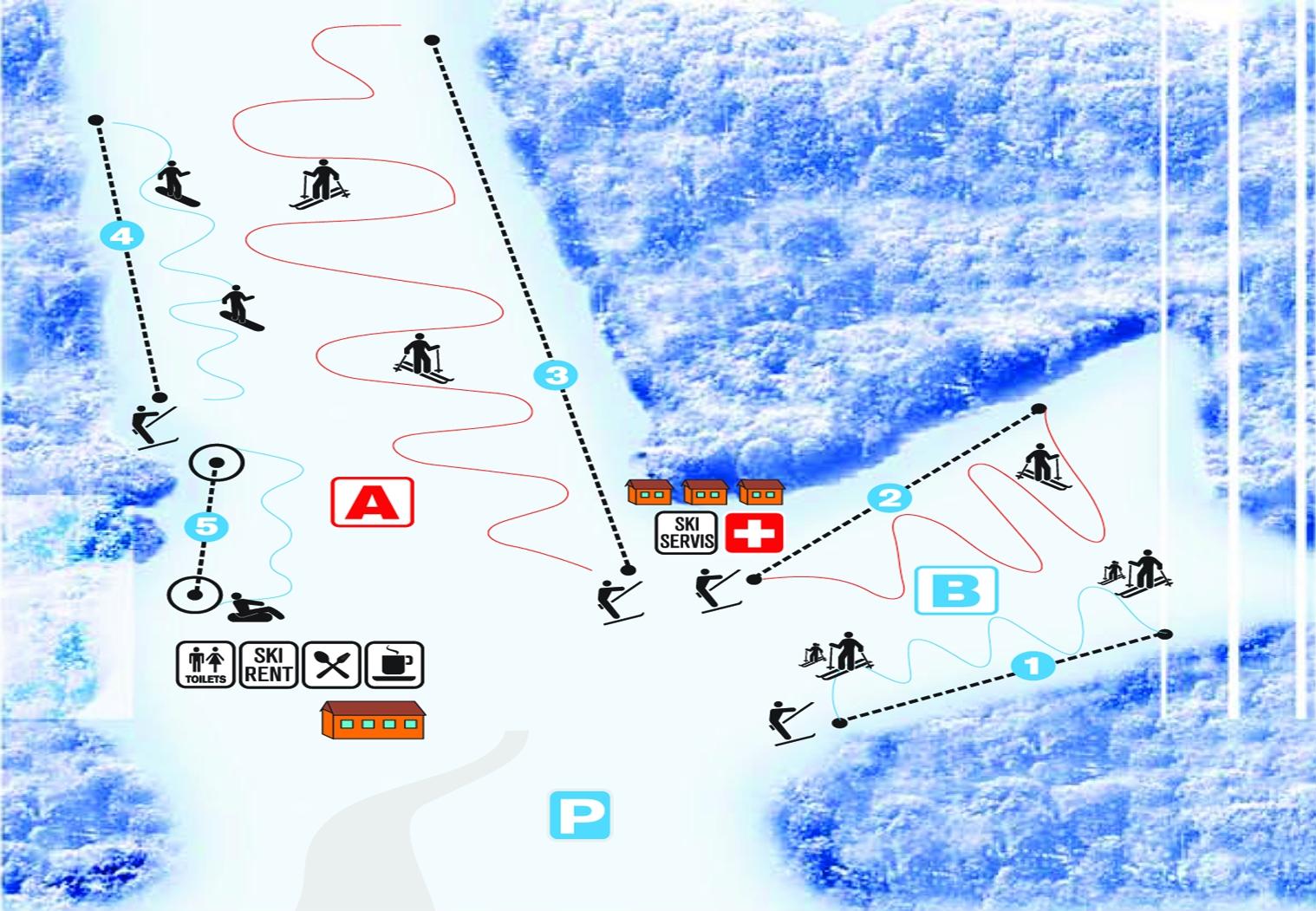 Mapa svahov v stredisku Skipark Chlmec