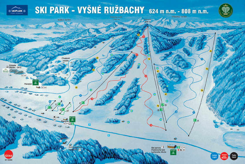 Mapa svahov v stredisku Skipark Vyšné Ružbachy