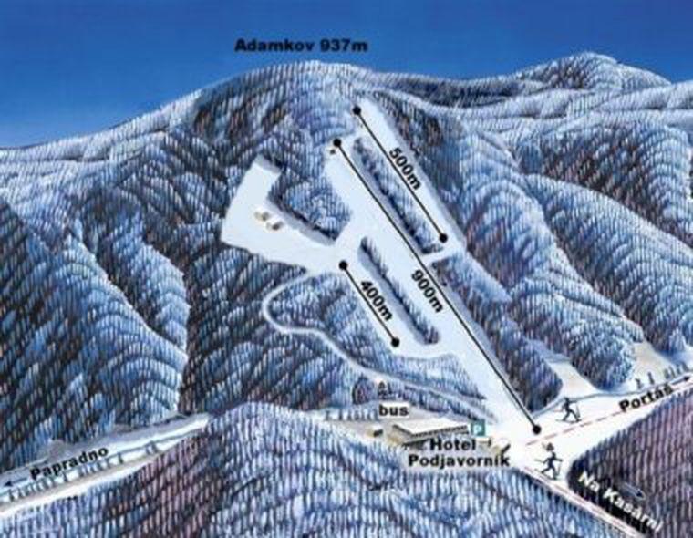 Mapa svahov v stredisku Ski Podjavorník