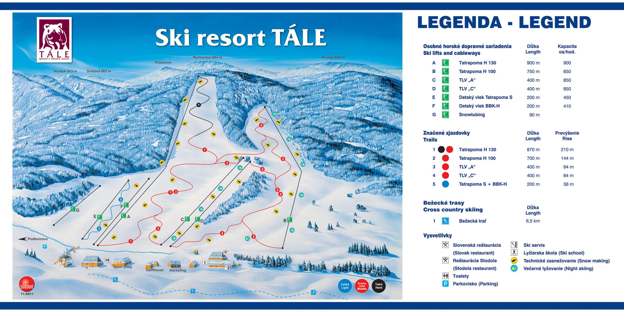Mapa svahov v stredisku Ski resort Tále