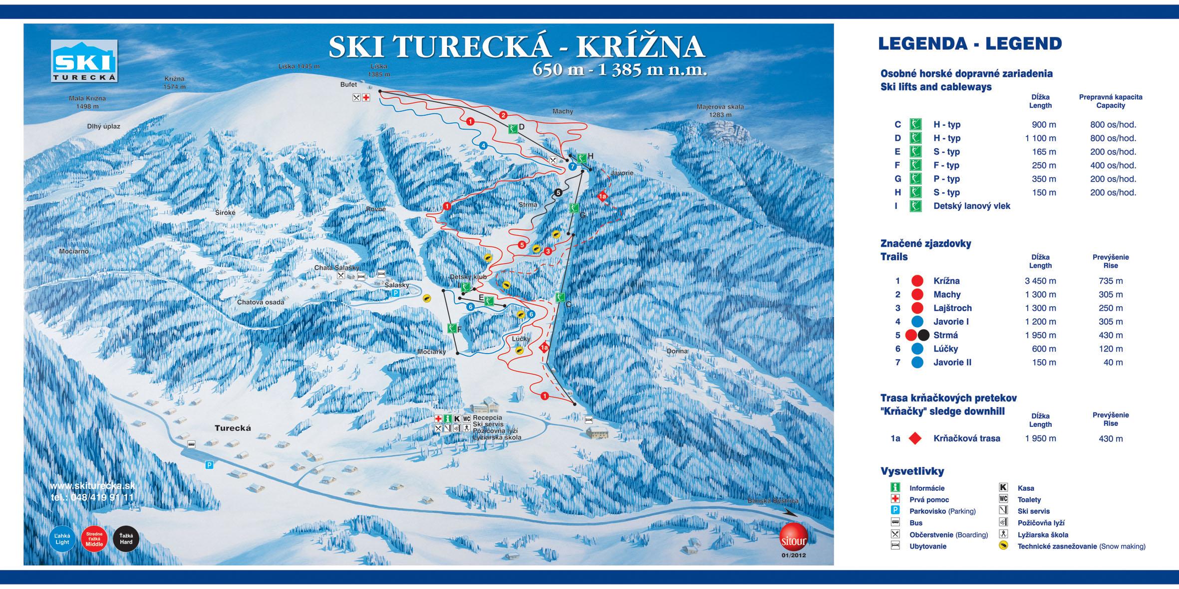 Mapa svahov v stredisku Turecká - Krížna