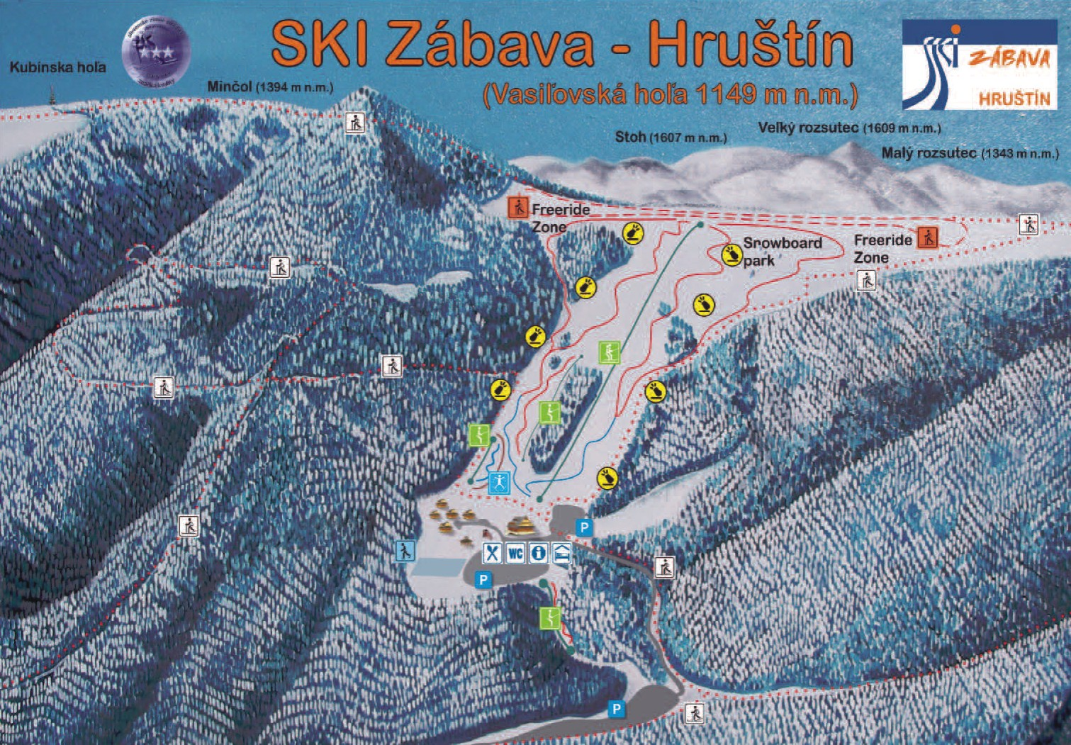 Mapa svahov v stredisku Ski Zábava Hruštín
