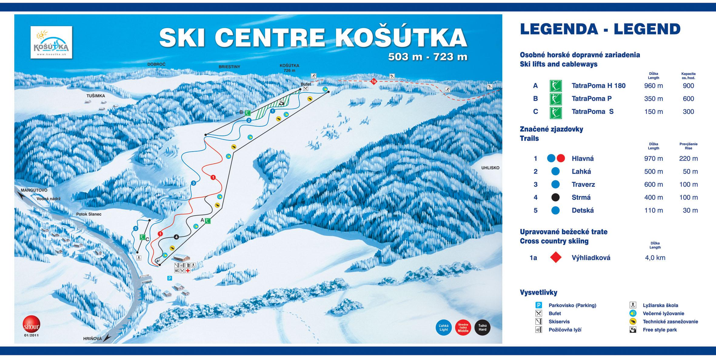 Mapa svahov v stredisku Skicentrum Košútka
