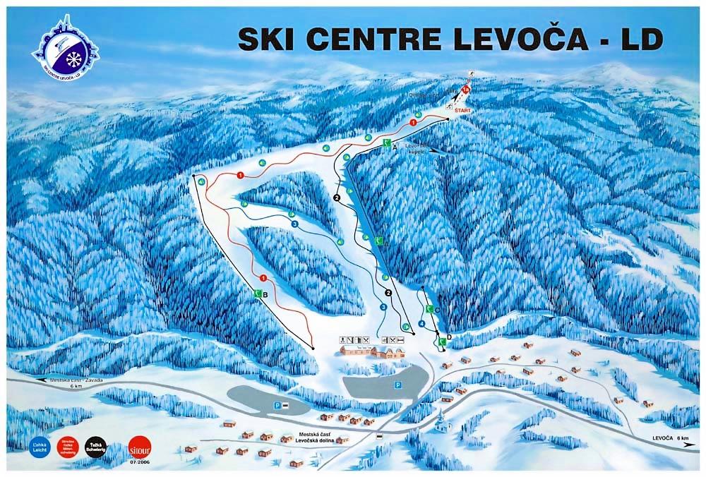 Mapa svahov v stredisku Skicentre Levoča LD