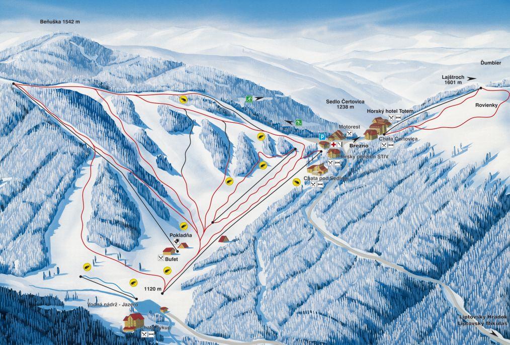 Mapa svahov v stredisku Skicentrum Čertovica