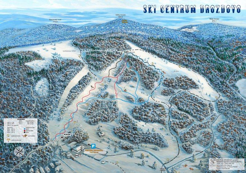 Mapa svahov v stredisku Skicentrum Drozdovo