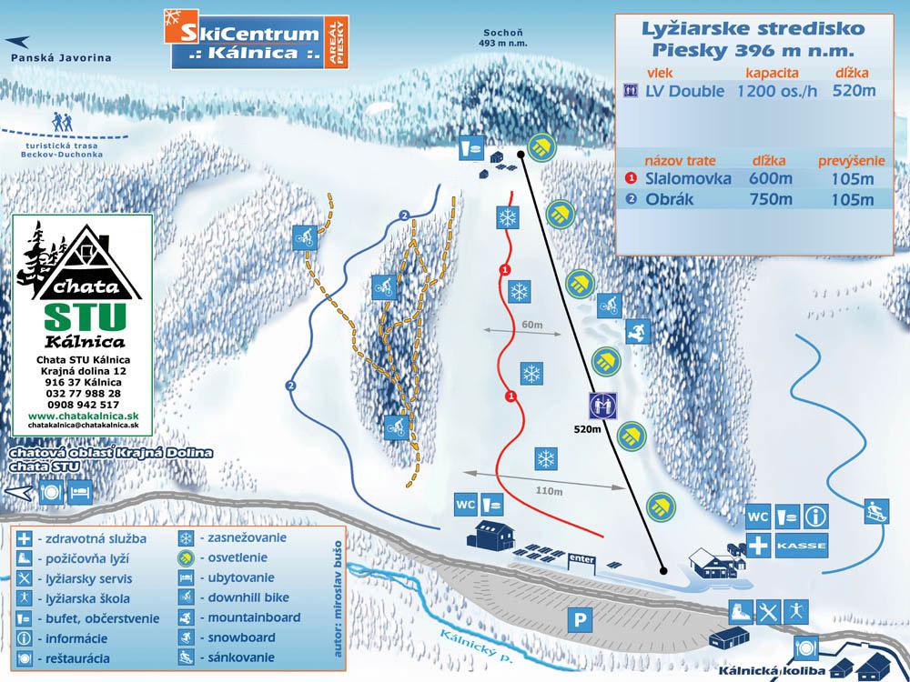 Mapa svahov v stredisku Ski Centrum Kálnica