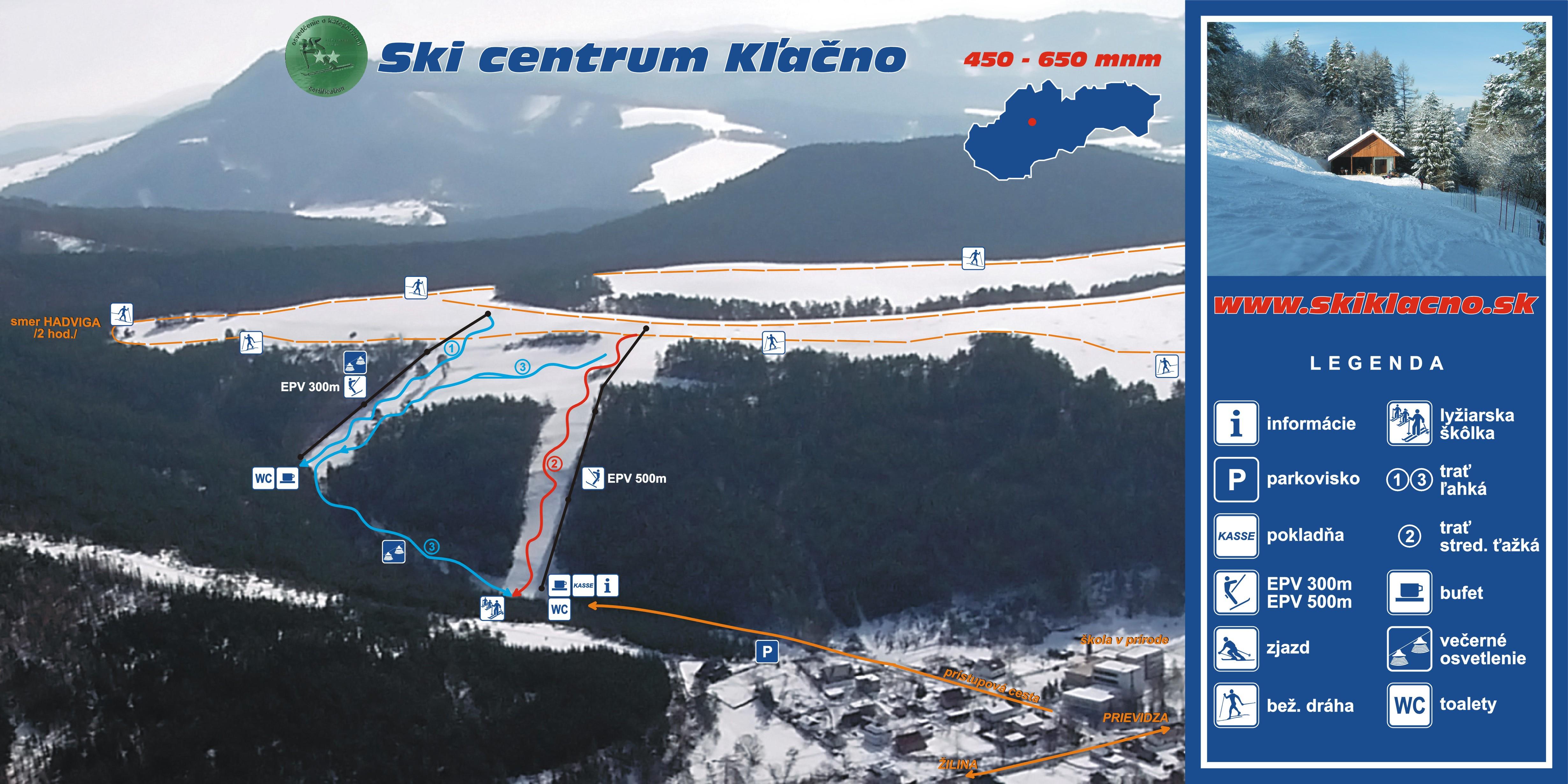 Mapa svahov v stredisku Skicentrum Kľačno