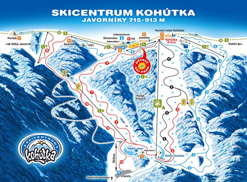 Mapa svahov v stredisku Skicentrum Kohútka