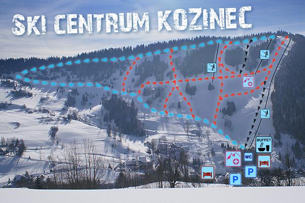 Mapa svahov v stredisku Ski Centrum Kozinec
