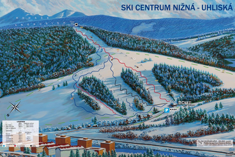 Mapa svahov v stredisku Skicentrum Nižná - Uhliská