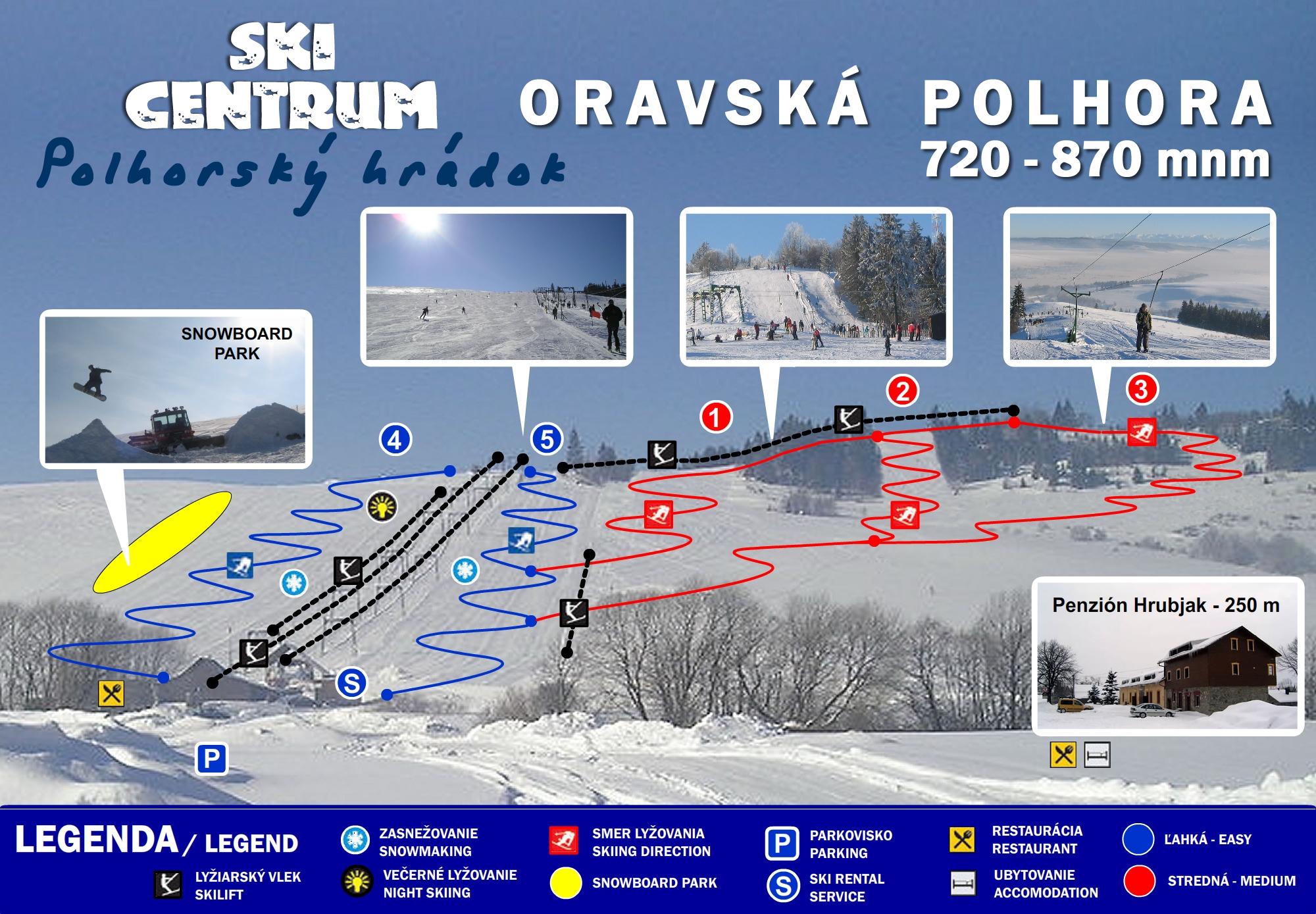 Mapa svahov v stredisku Skicentrum Polhorský Hrádok