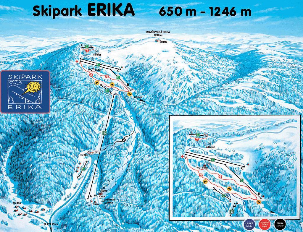 Mapa svahov v stredisku Skipark Erika Kojšovská Hoľa