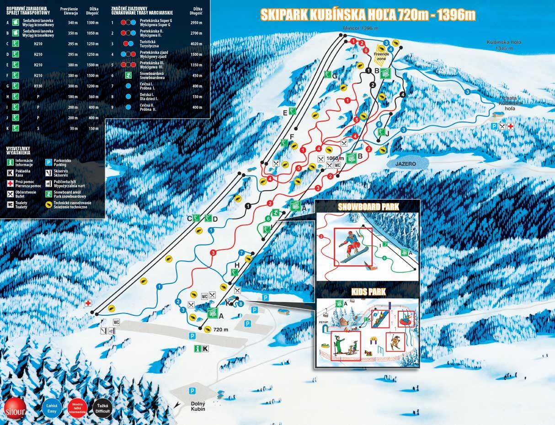 Mapa svahov v stredisku Skipark Kubínska Hoľa