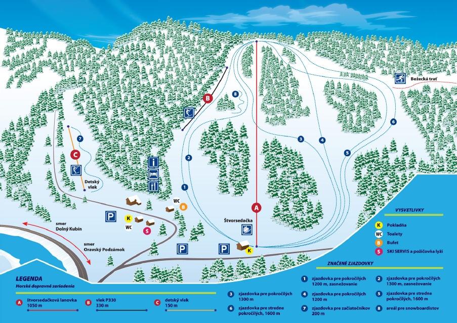 Mapa svahov v stredisku Skipark Racibor - Oravský Podzámok