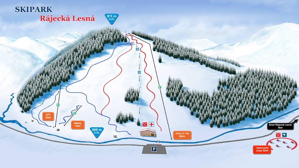 Mapa svahov v stredisku Skipark Rajecká Lesná