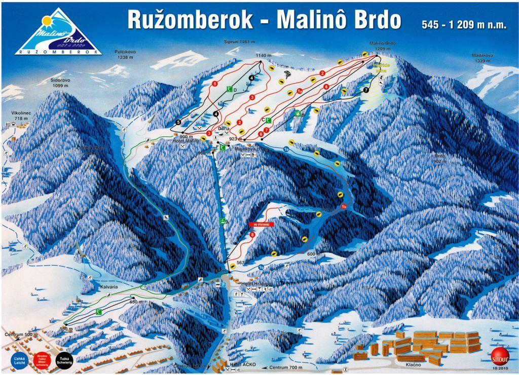 Mapa svahov v stredisku Skipark Ružomberok - Malinô Brdo