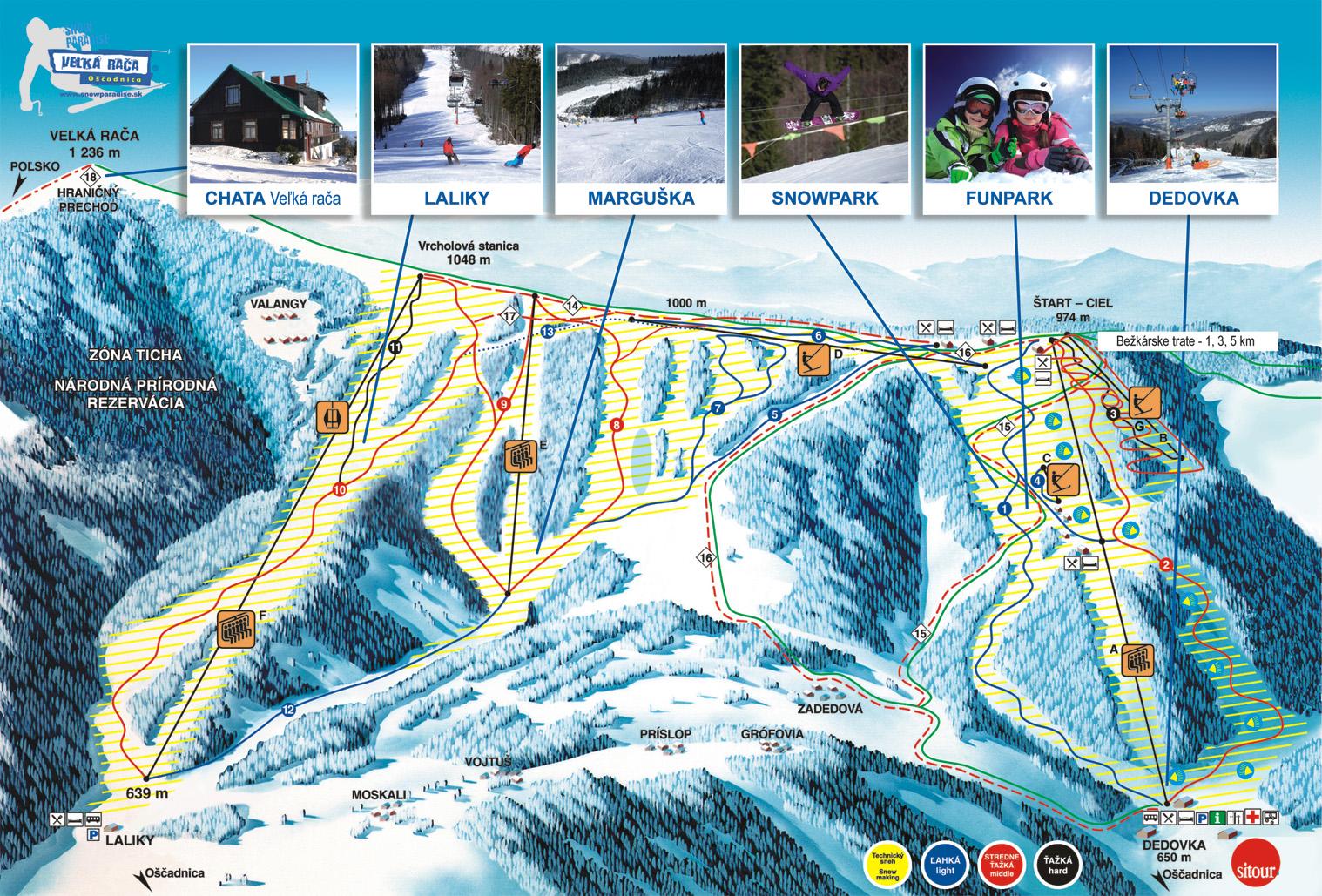 Mapa svahov v stredisku Snow Paradise Veľká Rača