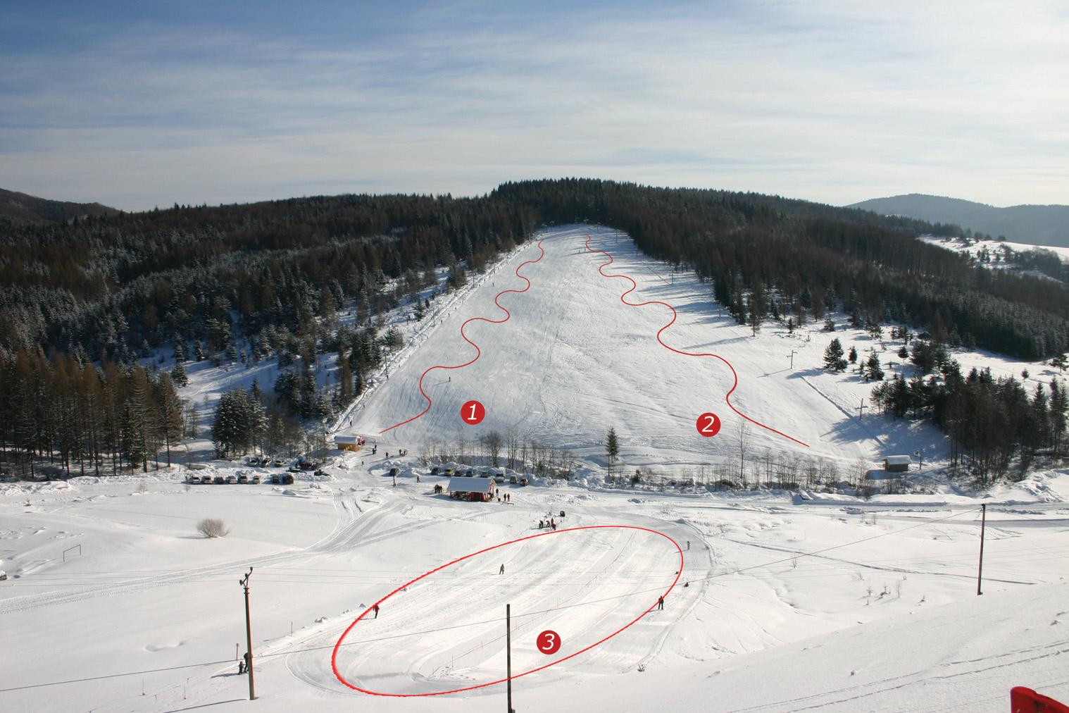 Mapa svahov v stredisku Snow Sun Vadičov