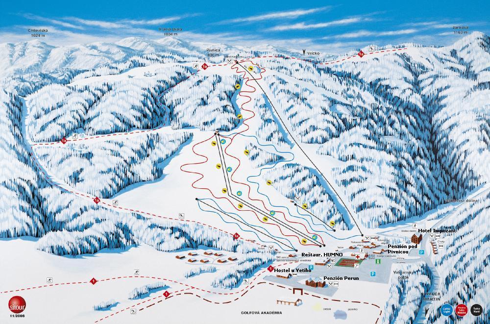 Mapa svahov v stredisku Snowland Valčianska Dolina