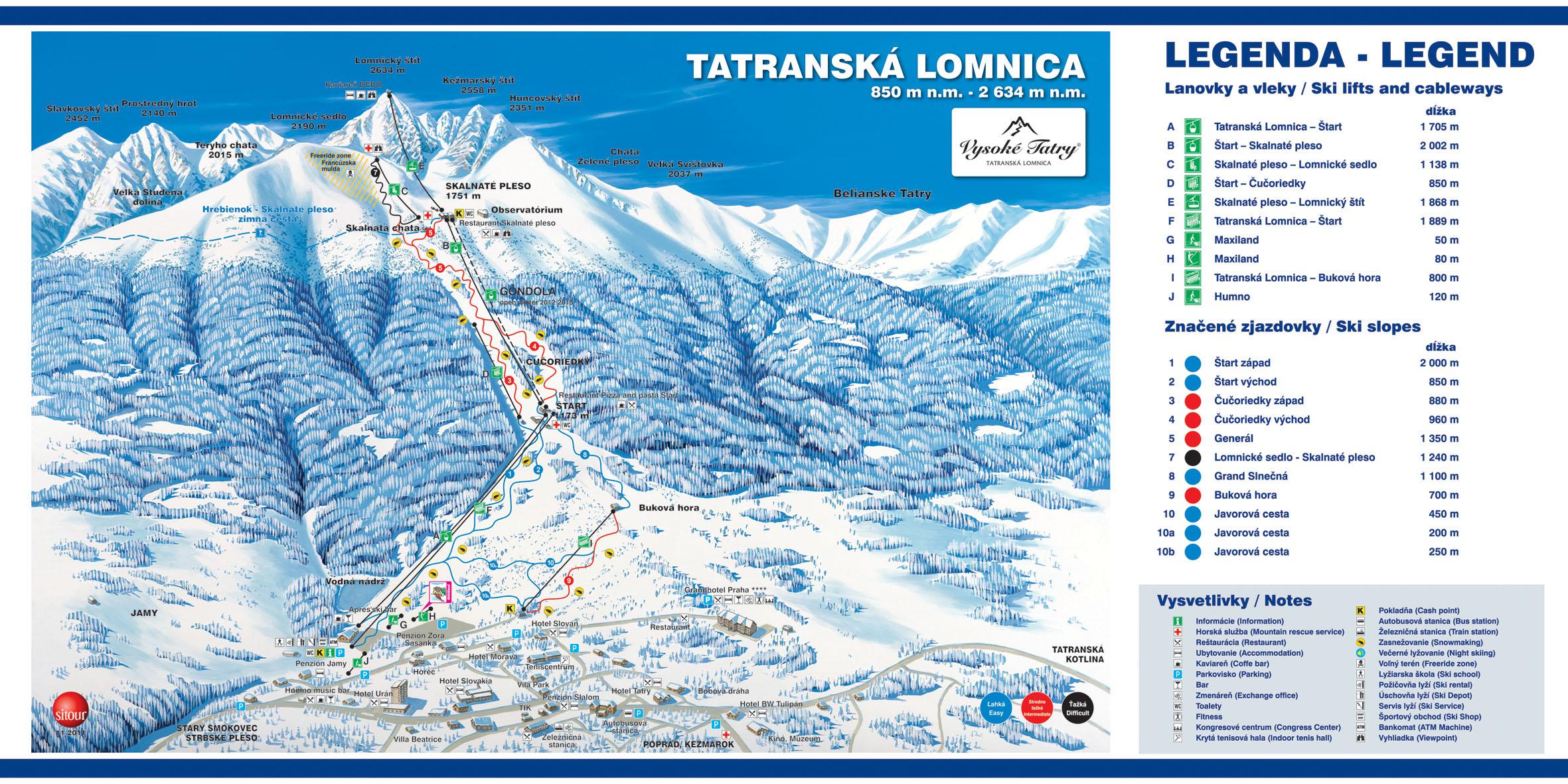 Mapa svahov v stredisku Tatranská Lomnica