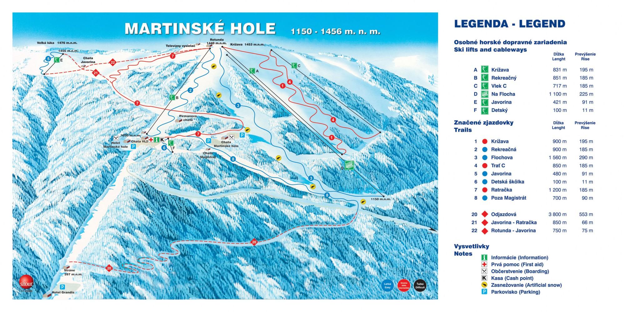 Mapa svahov winter park Martinky