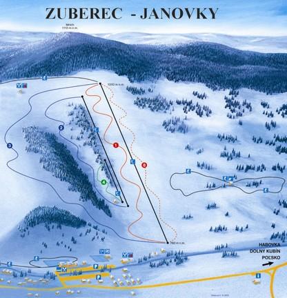 Mapa svahov v stredisku Zuberec - Janovky