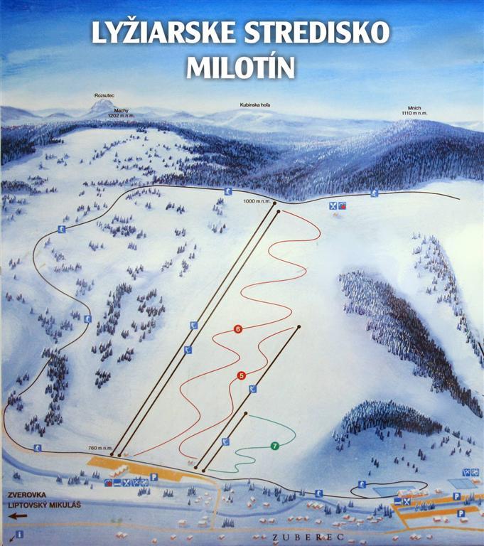Mapa svahov v stredisku Zuberec - Milotín