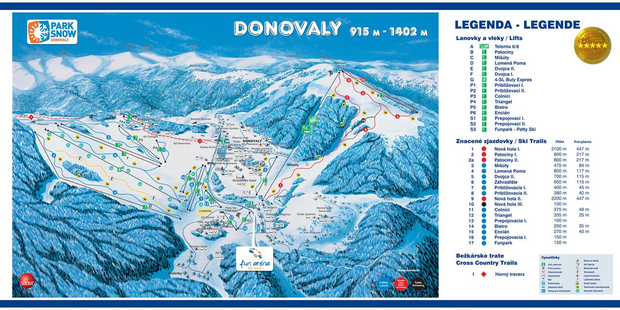 Mapa svahov v stredisku Park Snow Donovaly