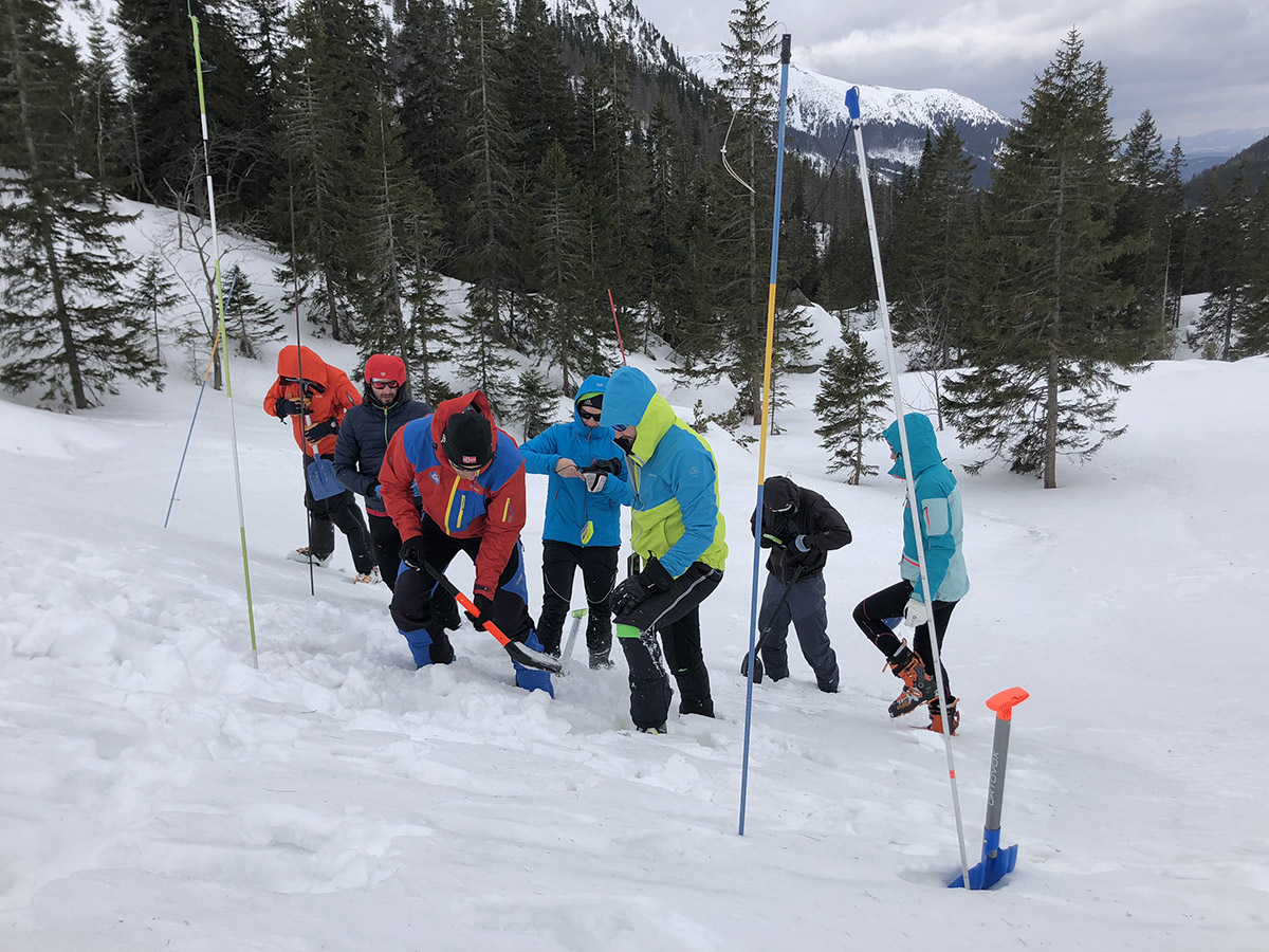 Ak sa už niekto chystá do terénu, kde je riziko pádu lavín, tak by mal mať povinnú lavínovú výbavu – lavínový vyhľadávací prístroj, lopatu a sondu.