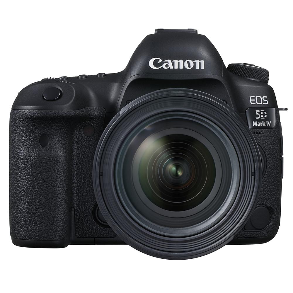 Canon EOS 5D Mark IV - profesionálna full frame zrkadlovka, rozlišenie 30 MPx, vysoký dynamický rozsah, AF s detekciou pohybu, dotykový displej.